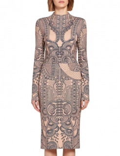 Roberto Cavalli Tattoo Print Nude Fitted Dress