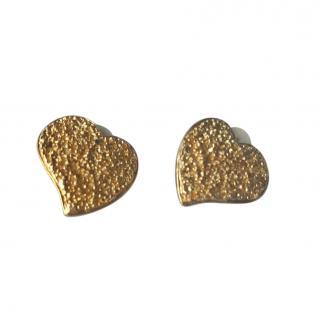 Yves Saint Laurent Gold Tone Textured Vintage Heart Earrings