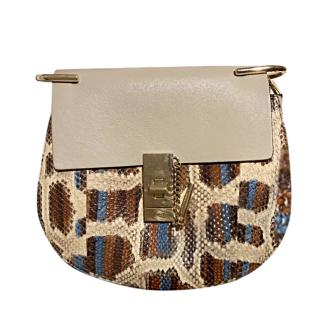 Chloe Beige Leather & Natural Python Medium Drew Bag