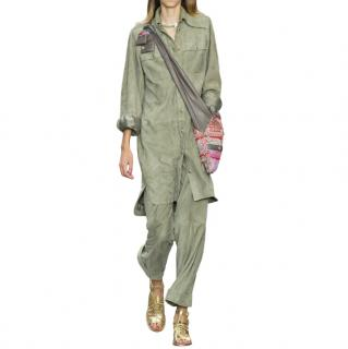 Chanel iconic ''Make Fashion Not War'' khaki suede suit