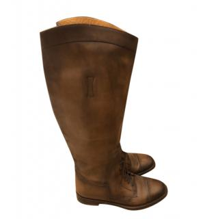 Gucci soft dark brown leather riding boots