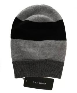 Dolce & Gabbana Wool Grey & Black Striped Beanie