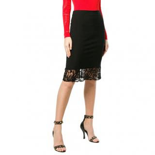 Versace Black Lace Trimmed Stretch Jersey Skirt