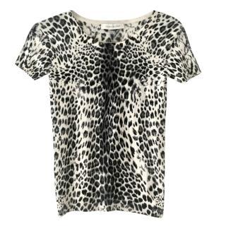Pierre Balmain Virgin Wool Leopard Print Top