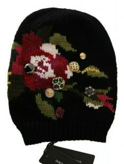 Dolce & Gabbana Embroidered Wool Embellished Knit Hat