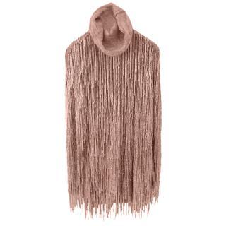 Valentino Grey Rollneck Beaded Fringe Mini Dress
