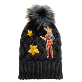 Dolce & Gabbana black cable knit embellished pom pom hat