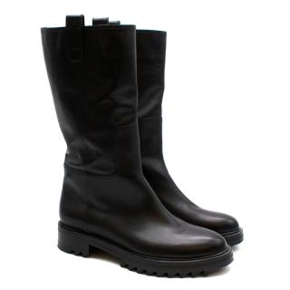 Tamara Mellon Black Leather Easy Rider Mid Calf 35 Boots
