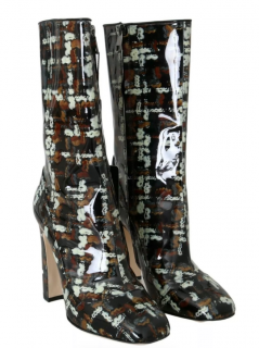 Dolce & Gabbana Brown, Black, White Graphic Painted Boots