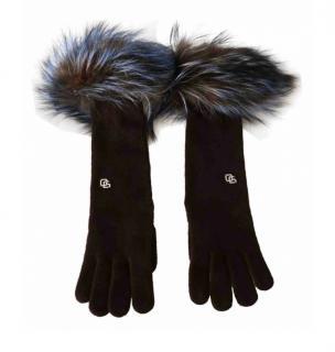 DOlce & Gabbana Mink Fur Trimmed Cashmere Gloves