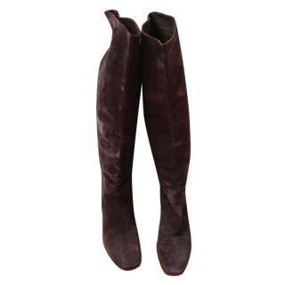 Michael Perry Dark Brown Suede Knee Boots