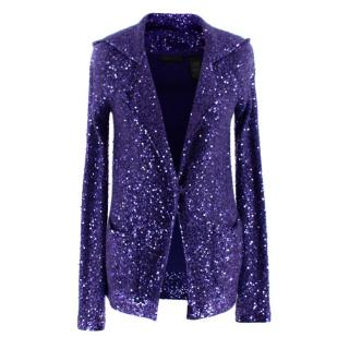Donna Karan Purple Sequin Hooded Cashmere Cardigan