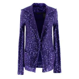 Donna Karan Purple Sequin Hooded Cashmere Cardigan