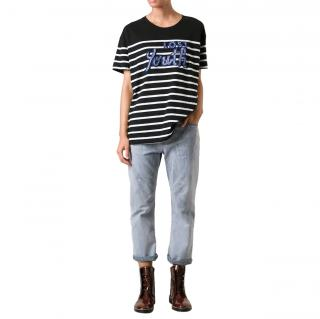 Each x Other Striped Embroidered T-Shirt