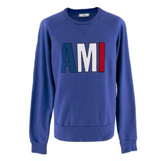Ami Blue Logo Patch Sweatshirt