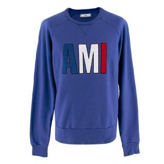 Ami Blue Logo Patch Sweatshirt