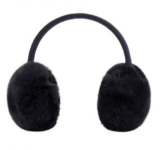 Yves Salomon Black Rabbit Fur Ear Muffs