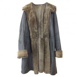Connolly Shearling-Lined Leather Coat