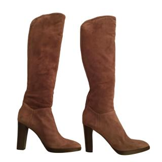 Loro Piana Brown Cashmere Lined Suede Boots