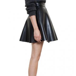 MSGM Black A-Line Faux Leather Skirt