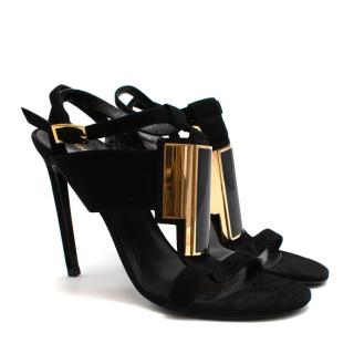 Saint Laurent Black Suede Strappy Heeled Sandals