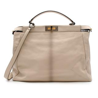 Fendi Beige Leather & Snakeskin Large Peekaboo Top Handle Bag