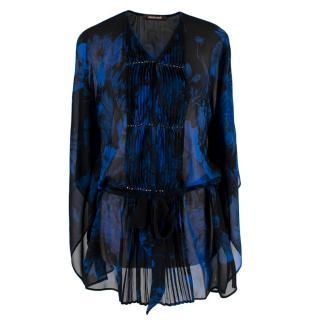 Roberto Cavalli Black & Blue Sheer Floral Pattern Top