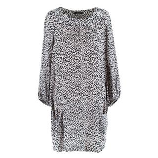 Balmain Black & White Heart Motif Long Sleeve Mini Dress