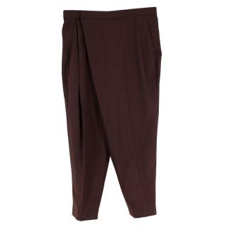 Brunello Cucinelli Burgundy/Brown Wrap Tapered Trousers
