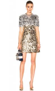 Dolce & Gabbana Paillettes Mini Dress In Silver & Gold