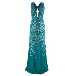 Roberto Cavalli Teal Sequin Embellished Sleeveless Gown