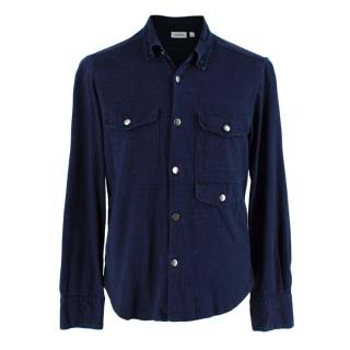 J. Lindeberg Indigo Cotton Jersey Shirt with Pocket Details