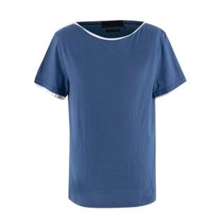 Alexander McQueen Mens Blue & White Cotton T-shirt