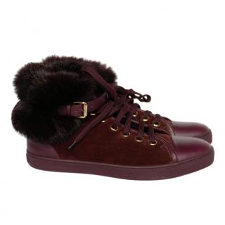 Louis Vuitton Burgundy Suede/Leather Rabbit Fur Lined High Tops