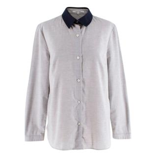 Carven Grey Cotton Shirt with Navy Collar