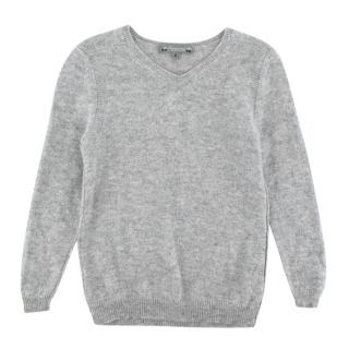 Bonpoint Grey V Neck Cashmere Sweater