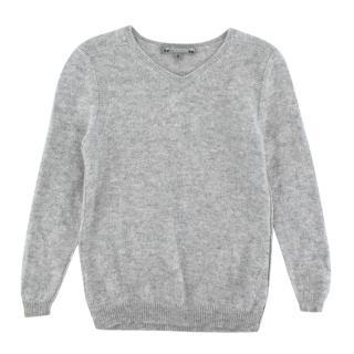 Bonpoint Grey V Neck Cashmere Sweater