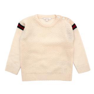 Gucci Cream Waffle Knit Web Trim Kids Jumper