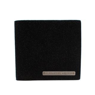 Alexander McQueen Black Glittered Suede Wallet
