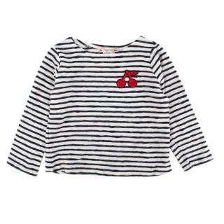 Bonpoint Blue Striped Cotton Cherry Logo Sweater