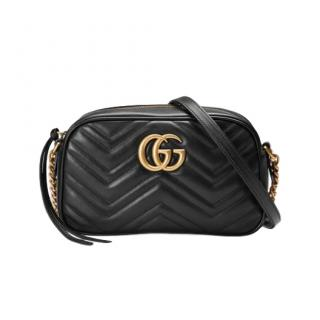 Gucci Black Leather GG Marmont Small Matelass� Shoulder Bag