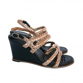 Chanel Braided Gold Leather Wedge CC Sandals