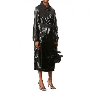 Self Portrait Contrast-collar faux-leather trench coat