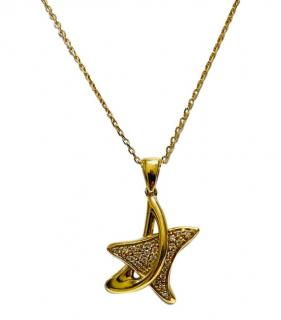 Bespoke 18ct Yellow Gold Diamond Star Pendant Necklace