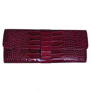 Smythson burgundy mara croc-effect leather jewellery roll