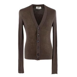 Yves Saint Laurent Brown Silk & Cashmere blend Cardigan