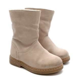 Bonpoint Beige Suede Shearling Lined Boots
