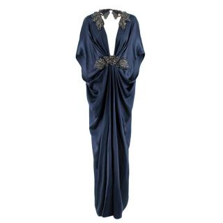 Michael Costello Blue Silk Draped Crystal Embellished Gown