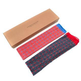 Anderson & Sheppard Set of 2 Red & Blue Cotton Neckerchiefs