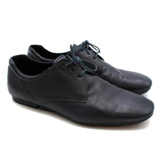 Prada Navy Leather Lace Soft Lace-up Shoes